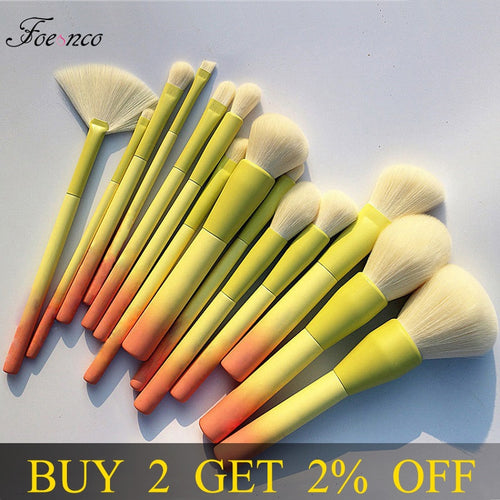 Professional Gradient Color 14pc. Makeup Brush Set, Soft Powder Blending Make Up Tools.