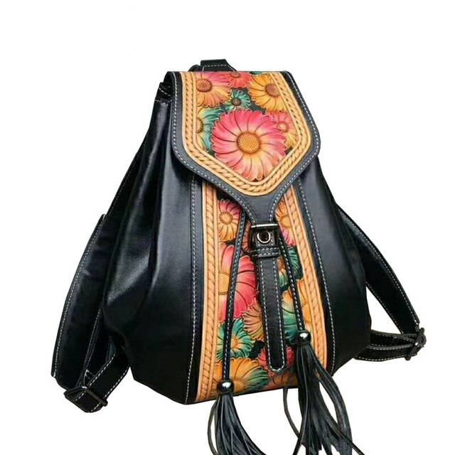 SUWERER Genuine Leather Women's Backpack, Luxury Hand Carved.