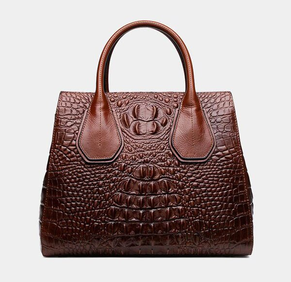 Women's Genuine Leather Handbag With Crocodile Embossing.