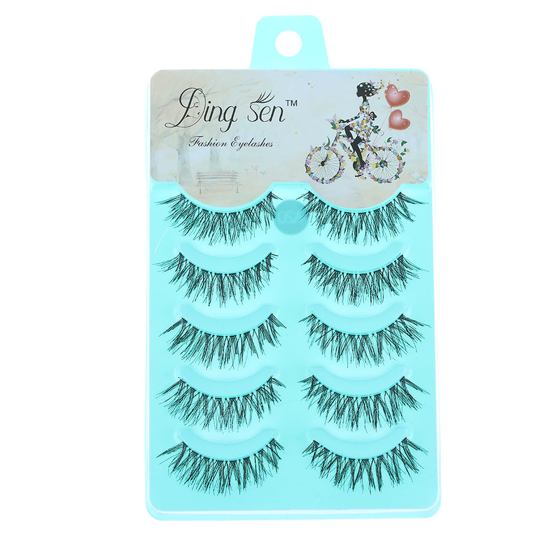 5 Pairs Of Women's Natural Soft Handmade Black Fake Eye Lashes.