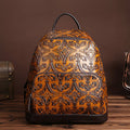 Ladies Vintage Embossed Backpack, Genuine Leather, High Quality Cowhide.