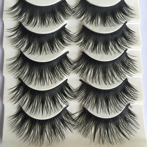 Popular 5 Pairs/set Beauty Thick Long eyelashes Makeup False Eyelashes Black Nautral Handmade Eye Lashes Extension