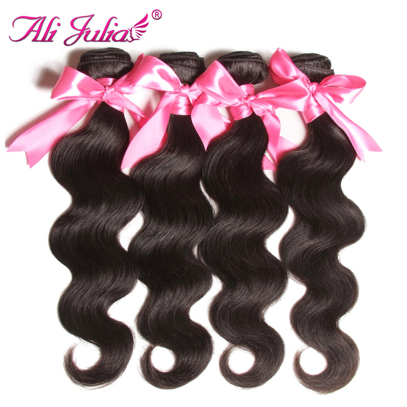 Ali Julia Hair, Brazilian Body Wave, Non Remy Hair With Natural Color 8-30 Inches, Human Hair Weave One Piece.