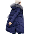 Women's hooded winter coat with fur collar.  Warm jacket in plus sizes.