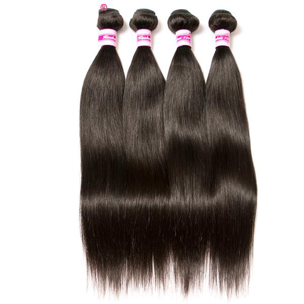Beaufox Brazilian Straight Human Hair Weave Bundles, Natural Black Non-Remy Hair Extensions, Can Buy 3 or 4 Bundles.