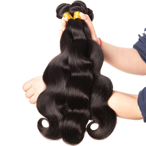 Beyo Hair, Brazilian Body Wave Hair Weave Bundles 10-28 Inches. 100% Human Hair 1 Piece Non-Remy Natural Color.