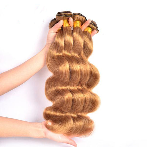 RXY Honey Blonde Brazilian Body Wave Hair Bundles 1 PC #27 Color 100% Human Hair Bundles Non-Remy Hair 12-24 inch Free Shipping