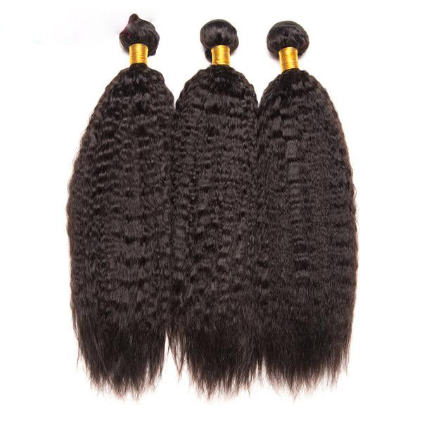 Mslynn Kinky Straight Hair Human Hair Bundles Non Remy Hair Extension Brazilian Hair Weave Bundles Can Buy 3 or 4 Pieces