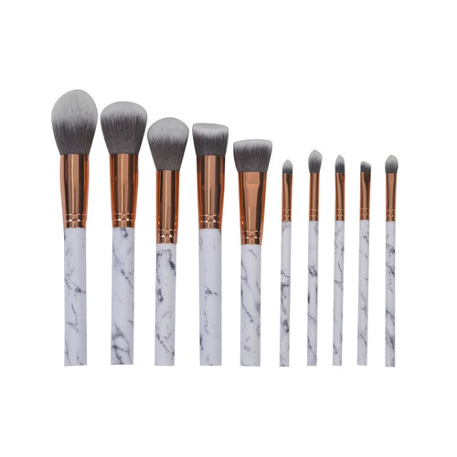 10 Pc Marble Stripe Makeup Brush Set.