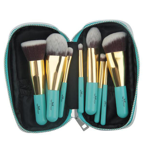 Anmor Travelling Makeup Brushes 9 PCS Synthetic Hair Makeup Brush Set With Portable Bag.