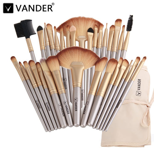 Vander Professional Soft Champagne 32Pc Makeup Brush Set W/Bag.