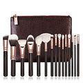 15 PC Pink or Brown Makeup Brush Set W/Leather Case.