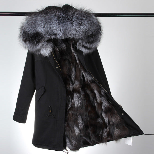 Woman's Luxurious Large Raccoon Fur/Fox Fur Hooded Winter Jacket, Top Quality!