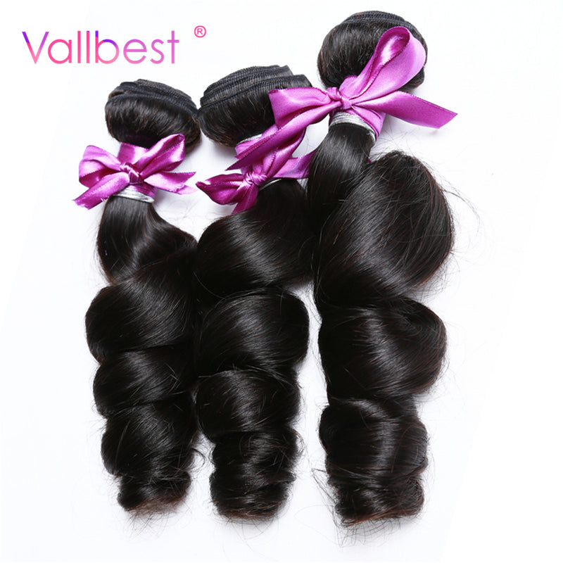 Brazilian Loose Wave Bundles Natural Black 1B Brazilian Hair Weave 100% Human Hair Bundles Non Remy Vallbest Can Buy 4 Bundles