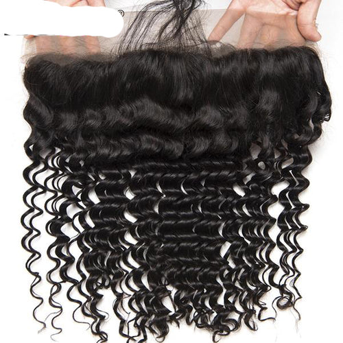 Beyo Hair Pre Plucked Lace Frontal With Baby Hair Ear To Ear Peruvian Deep Wave Closure 13x4 Non-Remy Human Hair Free Shipping