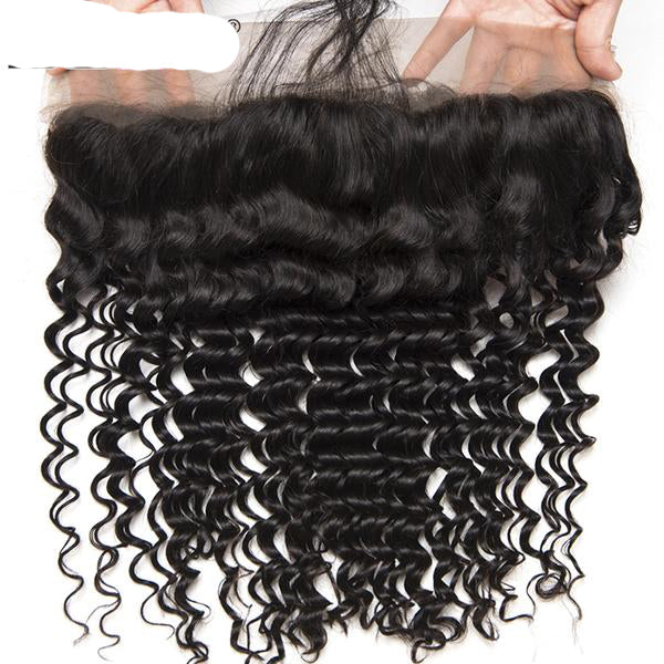 Beyo Hair Pre Plucked Frontal Lace With Baby Hair Ear To Ear Peruvian Deep Wave Closure. 13 x 4 Non-Remy Human Hair.