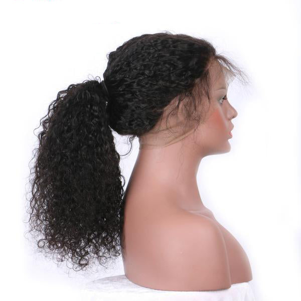 AliBlissWig, Curly Wigs, Pre Plucked 360 Lace Frontal Wigs. Human Hair Natural Color Brazilian Remy 150 Density Medium Cap.
