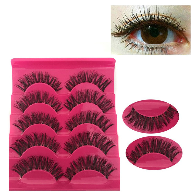 5 Pair set, Natural Long Handmade Thick False Eyelash Extensions.