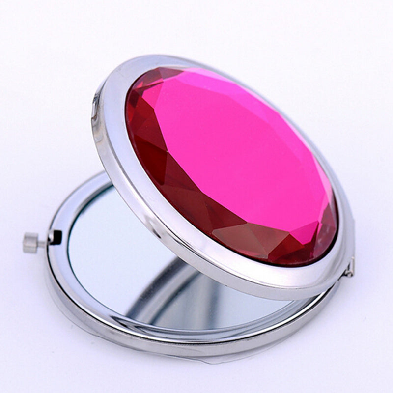 Women Pocket Mirror Portable Round Magnifying Mirror Makeup Mirror Lovely Pocket Crystal Portable Double Dual Sides