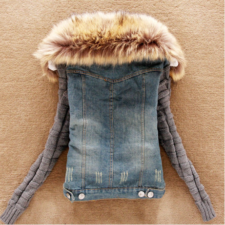 Coat women clothing Korean plus size heavy hair cotton wool denim jacket blue warm winter sleeve short jacket vestidos LJA122