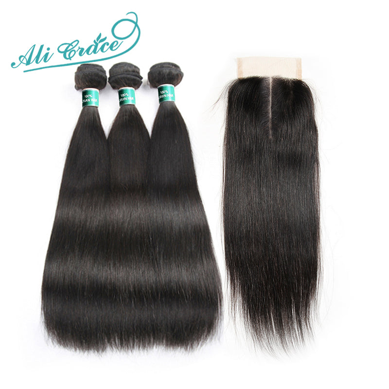 ALI GRACE Brazilian Straight Hair. Human Hair Bundles With Closure Middle Part. Natural Color Remy Hair 10-28 Inches.