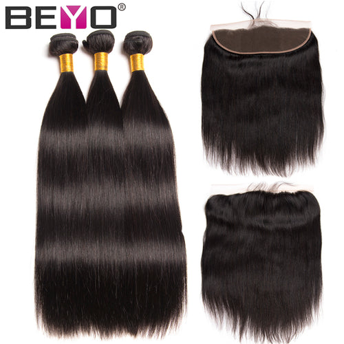 Ear To Ear Lace Frontal Closure Human Hair Bundles 4 PCS Peruvian Straight Hair Lace Frontal With Baby Hair Non Remy Beyo Hair