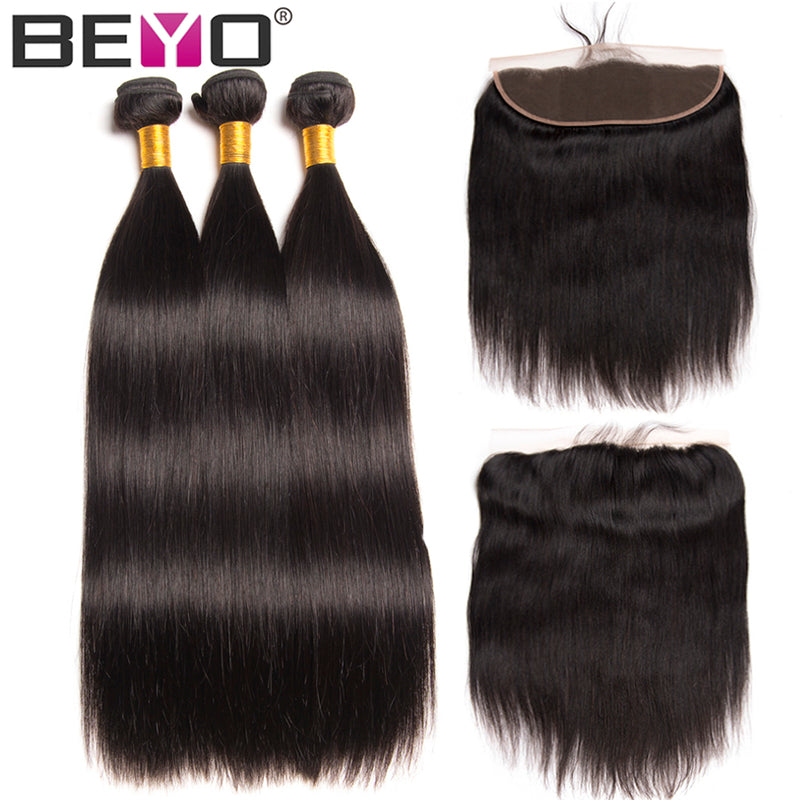 Ear To Ear Lace Frontal Closure With Bundles 4 PCS Peruvian Straight Human Hair Lace Frontal With Baby Hair Non Remy Beyo Hair