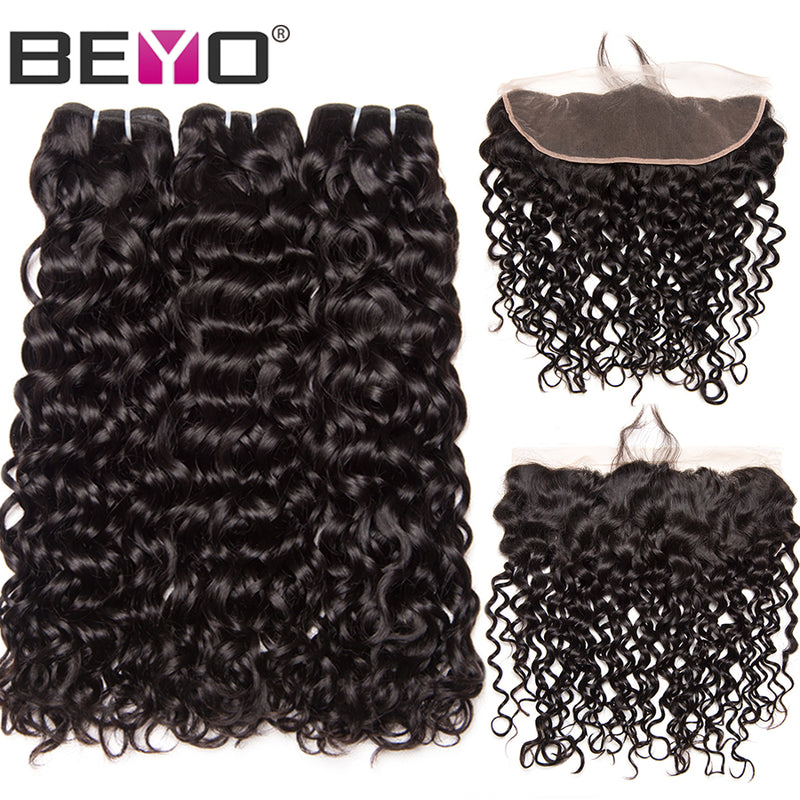 Beyo Water Wave 3 Bundles with Frontal Closure. Brazilian Hair Weave Bundles. Human Hair Lace Front With Baby Hair Non-Remy 4PCS.