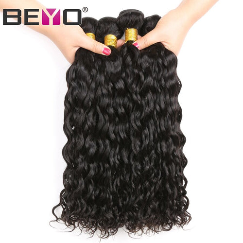 "Beyo Water Wave Peruvian Hair Bundles 3pc/Lot Natural Black Human Hair Bundles Double Weft 10""-28""Non-Remy Hair Extensions."