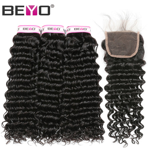 Beyo Hair Deep Wave Brazilian Hair Weave Bundles With Closure 3 Human Hair Bundles With Closure Non-Remy Lace Closure Free Part