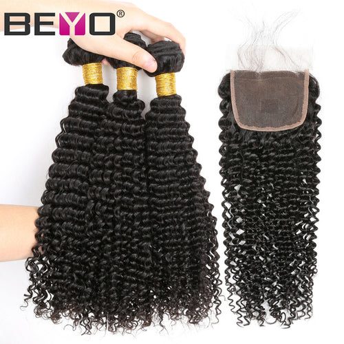 Beyo Hair Kinky Curly Human Hair 3 Bundles With Closure Brazilian Hair Weave Bundles Lace Closure With Baby Hair Non Remy 4PCS