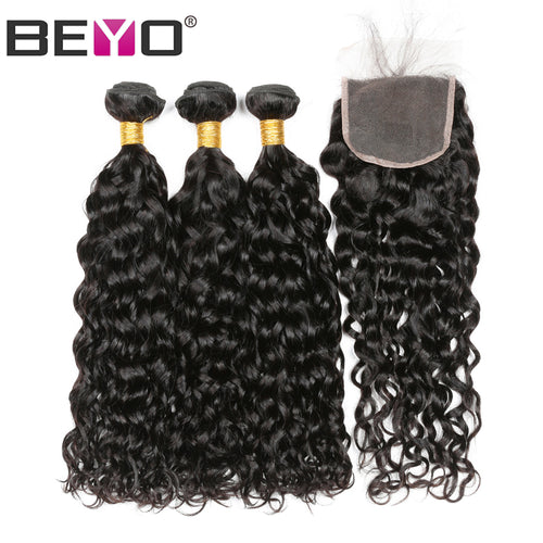 Water Wave Bundles With Closure Free Part Human Hair Bundles With Closure 4 Pcs Brazilian Hair Weave Bundles Non-Remy Beyo Hair