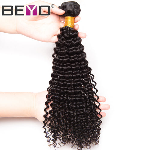 Beyo Hair Brazilian Afro Kinky Curly Hair Weave Bundles 100% Human Hair Bundles Natural Color Non-Remy Hair Extension 10-26 Inch