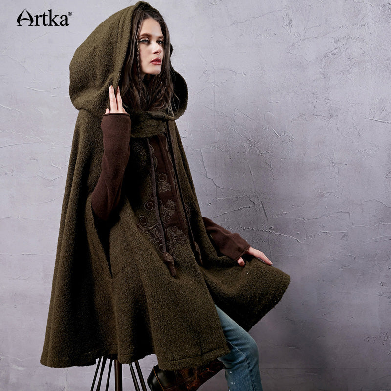 Artka Women's Warm Winter Woolen Hoodie Coat Embroidered Drop-Shoulder Sleeves.