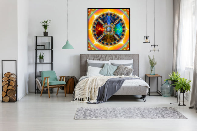 Seed of Light Mandala Tapestry | Wall Hanging | Shamanic Art | Spiritual | Psychedelic Art | Sacred Geometry | Visionary | Gaia| Art