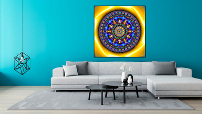 Lotus Blue Mandala Tapestry | Wall Hanging | Shamanic | Spiritual | Psychedelic | Sacred Geometry | Ayahuasca| Psy | Art