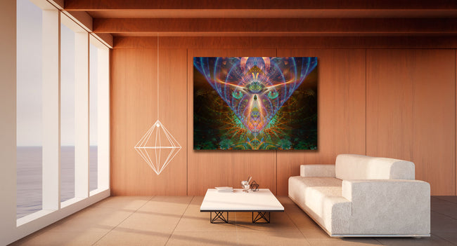 The Emerald Eyes Cosmic Tapestry | Wall Hanging | Conscious| Meditation | Spiritual | Visionary | Yoga| Healing | Art