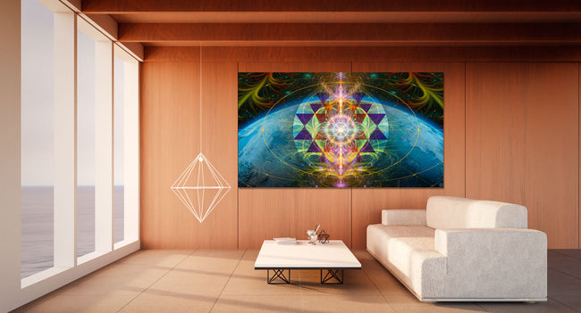 The Cosmic Key Tapestry | Wall Hanging | Flower of Life| Meditation | Spiritual | Sacred Geometry| Art