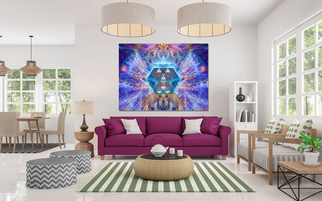 The Temple of the Violet Flame | Cosmic Art Print | Canvas | Psychedelic| | | Earth | Visionary | Psy | Art