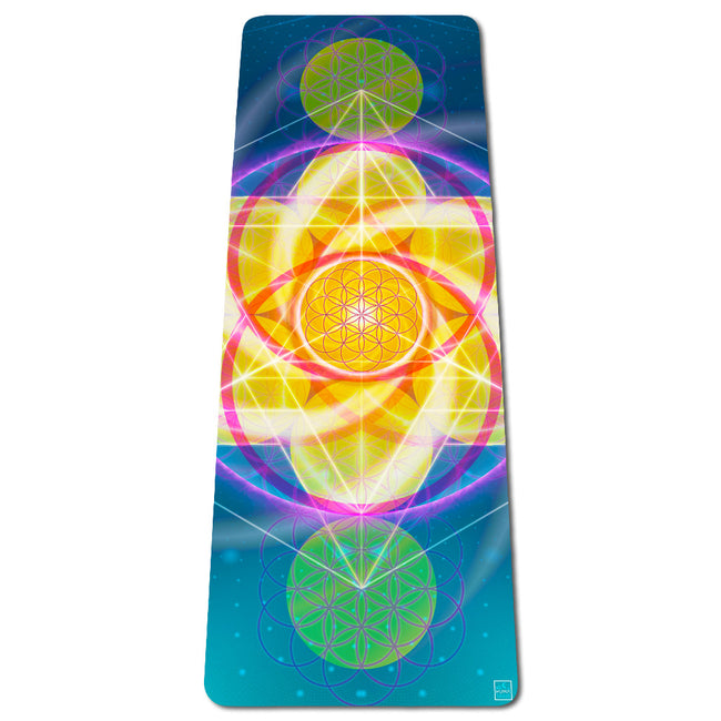 Light Activation Eco Yoga Mat | Natural | Best Hot Yoga Mat | Pilates | Non Slip 2 in 1 Mat + Towel | Free Strap