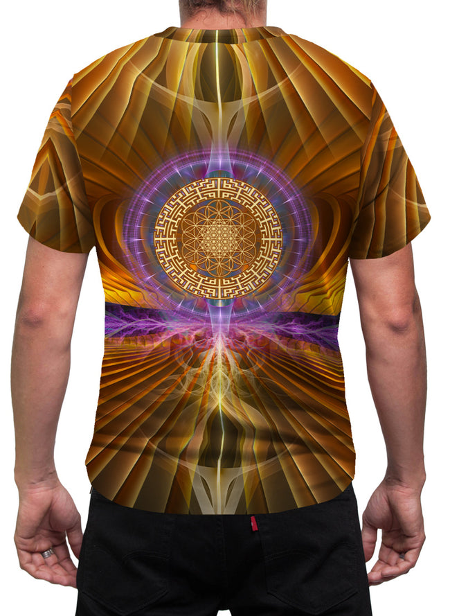 GoldenFlower| Mens T-Shirt | Clothing | Rave| Aesthetic | Yoga | Festival | Psychedelic| Psy |Gift | For Him