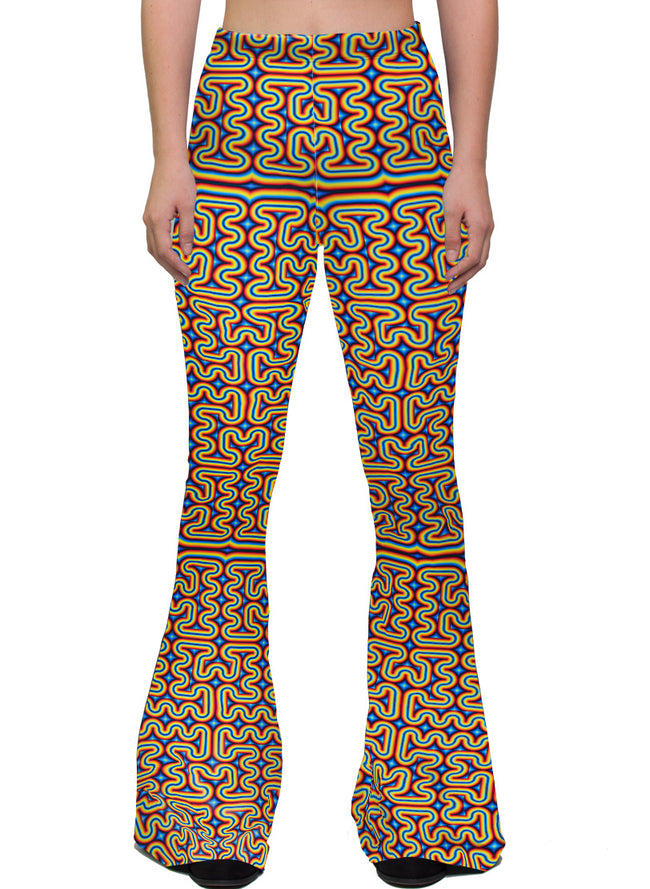 RainbowMaze | Bell Bottoms | Womens | Pants | Leggings | Festival | Rave | Outfit | Clothing | High Waisted | Psychedlic