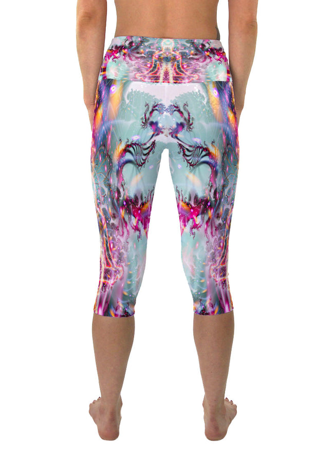 Awakening | Cropped | Leggings | Capri | Pants |Yoga | Workout | Gym | Festival | Rave | Outfit | Clothing | High Waisted | Fold Over