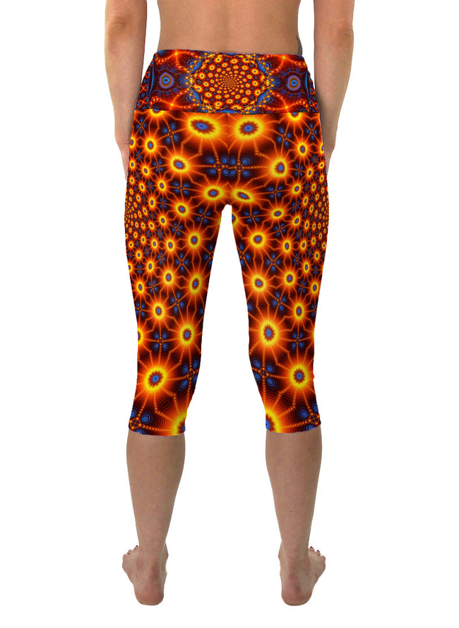 Cactivated DNA | Cropped | Leggings | Capri | Pants |Yoga | Workout | Gym | Festival | Rave | Outfit | Clothing | High Waisted | Fold Over | Psychedelic