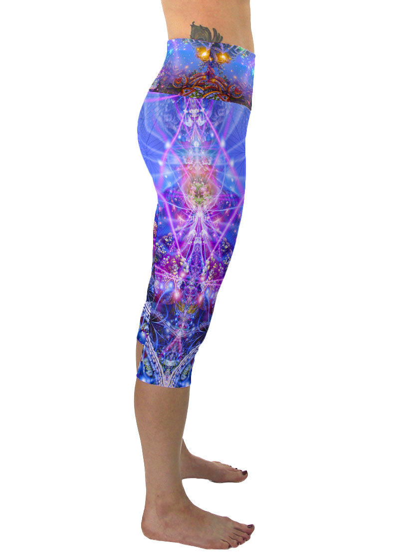 Gates of Atlantis | Cropped | Leggings | Capri | Pants | Yoga | Workout | Gym | Festival | Rave | Outfit | Clothing | High Waisted | Psychedelic