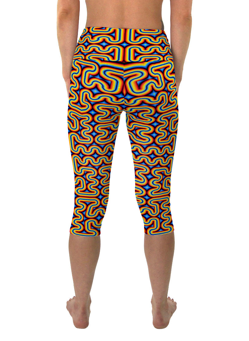 RainbowMaze | Cropped | Leggings | Capri | Pants | Yoga | Workout | Gym | Festival | Rave | Outfit | Clothing | High Waisted | Psychedelic
