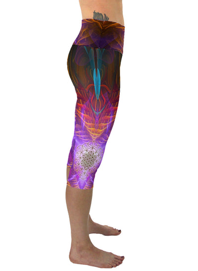 Sacred Flower | Cropped | Leggings | Capri | Pants | Yoga | Workout | Gym | Festival | Rave | Outfit | Clothing | High Waisted |