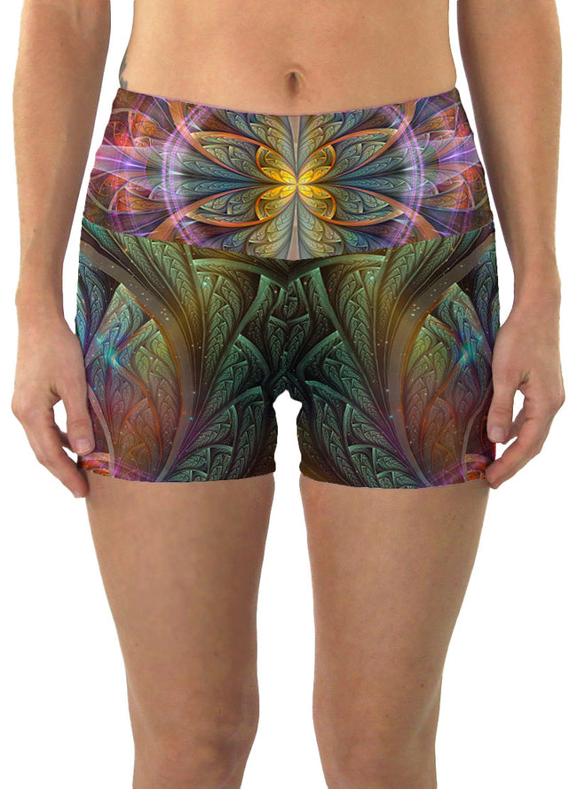 Gaiahuasca | Shorts | Yoga | Workout | Gym | Festival | Rave | Outfit | Clothing | High Waisted | Fold Over | Shaman| Ayahuasca
