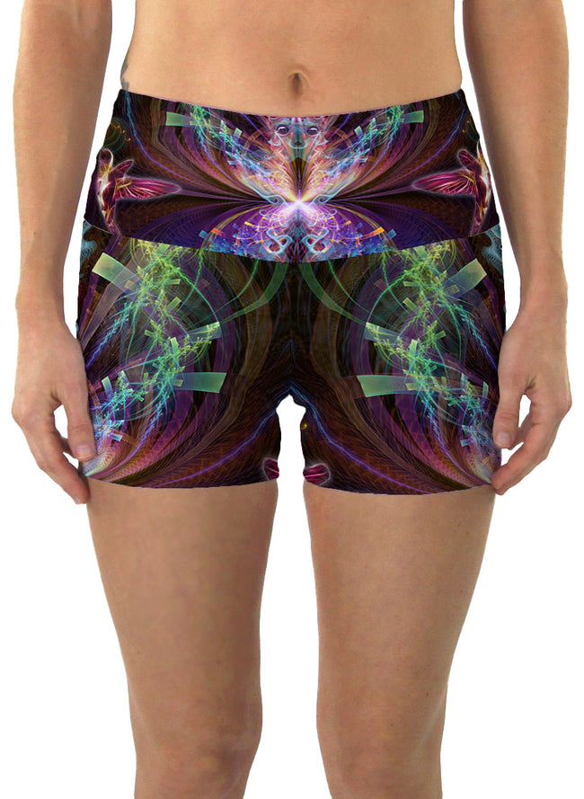 I See You | Shorts | Yoga | Workout | Gym | Festival | Rave | Outfit | Clothing | High Waisted | Fold Over | Shaman| Ayahuasca
