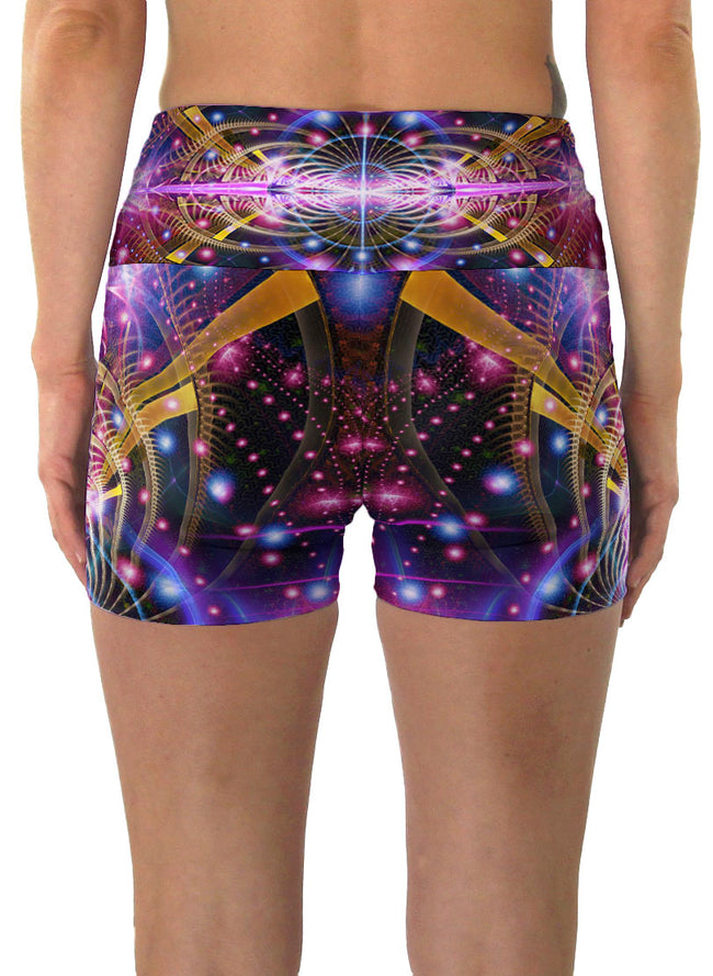 Karuna | Shorts | Yoga | Workout | Gym | Festival | Rave | Outfit | Clothing | High Waisted | Fold Over | Aesthetic | Psychedelic